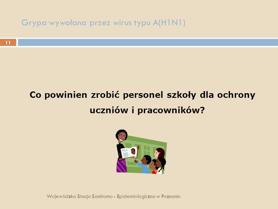 11 Grypa wywołana przez wirus typu A(H1N1) Co powinien zrobić personel szkoły dla ochrony uczniów i pracowników? Wojewódzka Stacja Sanitarno - Epidemi