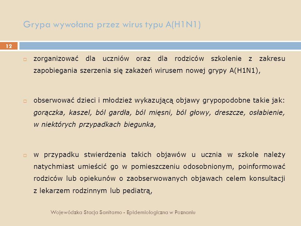 12 Grypa wywołana przez wirus typu A(H1N1) Wojewódzka Stacja Sanitarno - Epidemiologiczna w Poznaniu zorganizować dla uczniów oraz dla rodziców szkole