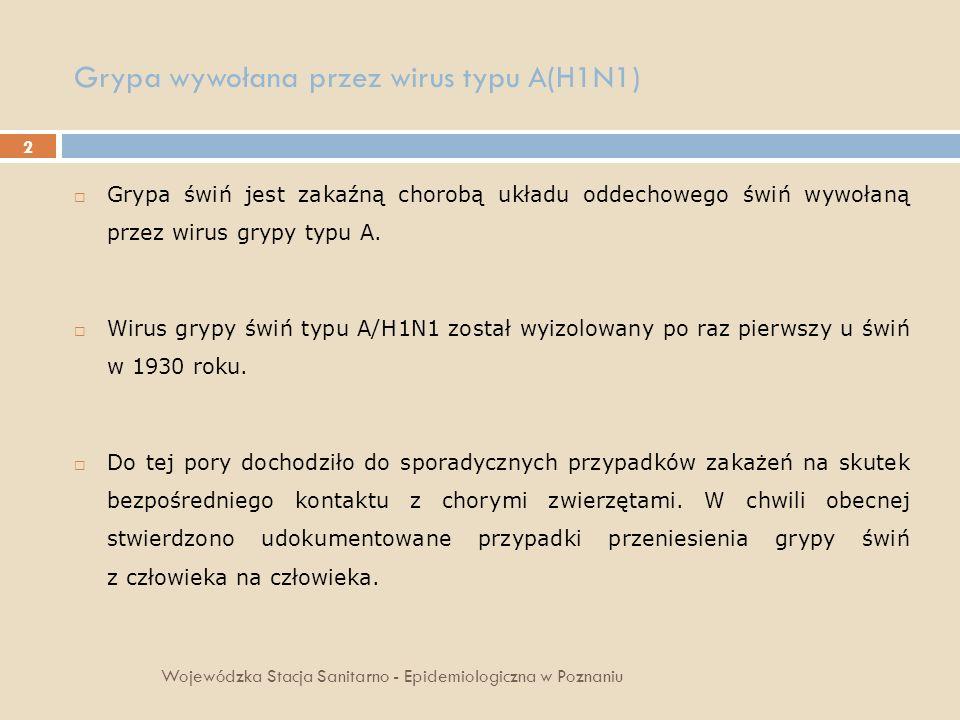 2 Grypa wywołana przez wirus typu A(H1N1) Wojewódzka Stacja Sanitarno - Epidemiologiczna w Poznaniu Grypa świń jest zakaźną chorobą układu oddechowego