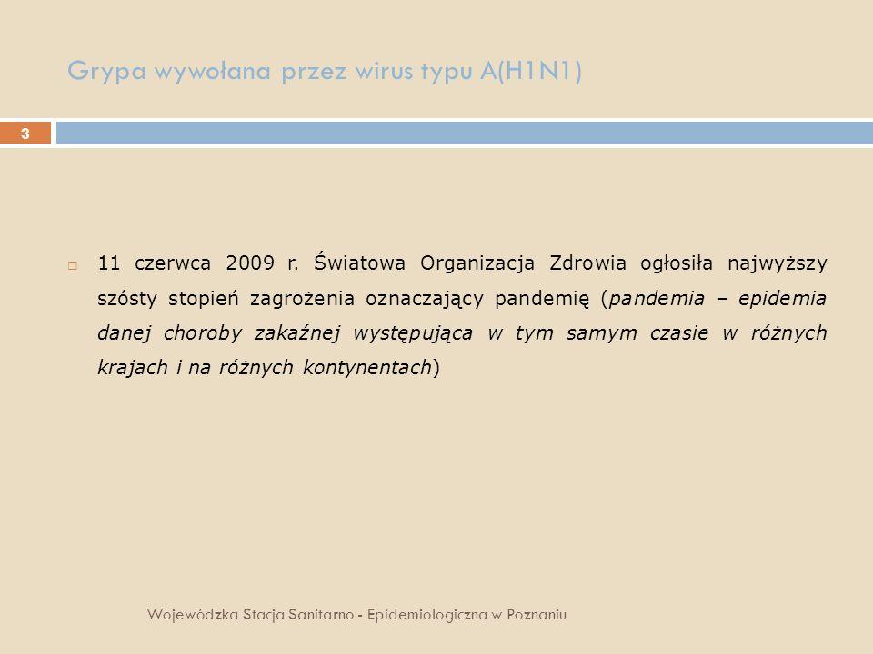 3 Grypa wywołana przez wirus typu A(H1N1) Wojewódzka Stacja Sanitarno - Epidemiologiczna w Poznaniu 11 czerwca 2009 r. Światowa Organizacja Zdrowia og