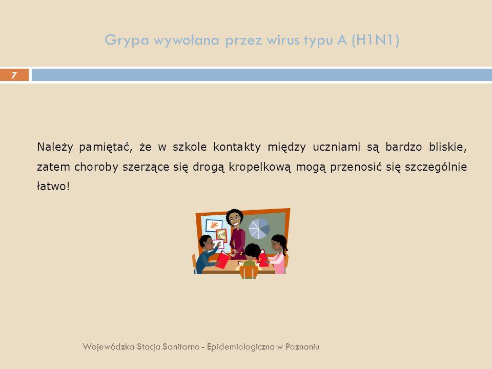 18 Grypa wywołana przez wirus typu A(H1N1) Wojewódzka Stacja Sanitarno - Epidemiologiczna w Poznaniu Unikaj kontaktu z chorymi osobami.