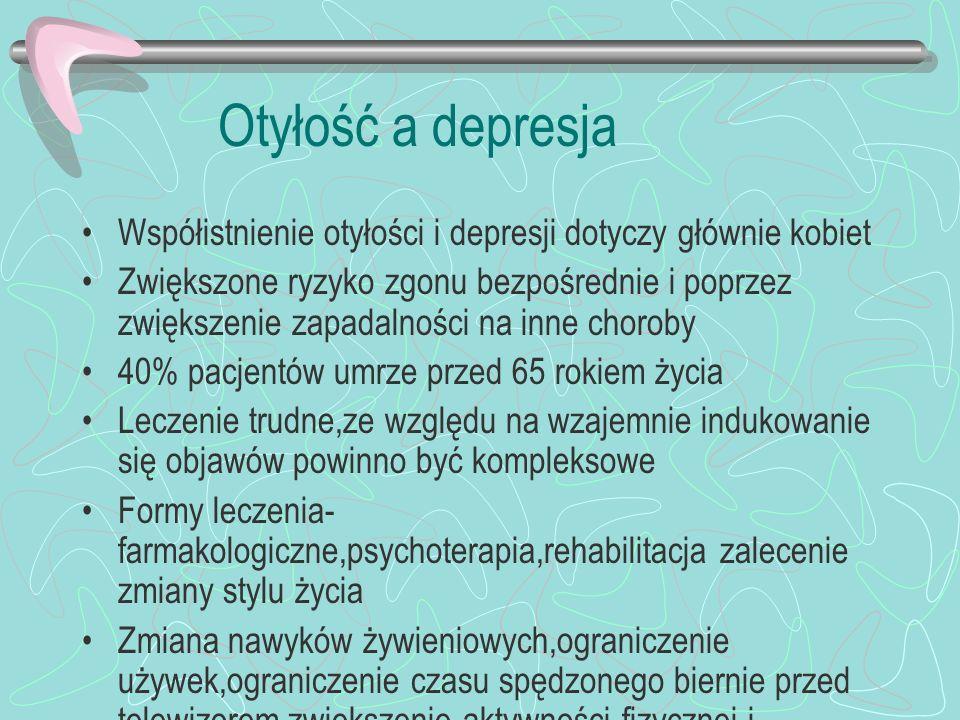 Otyłość a depresja Współistnienie otyłości i depresji dotyczy głównie kobiet Zwiększone ryzyko zgonu bezpośrednie i poprzez zwiększenie zapadalności n