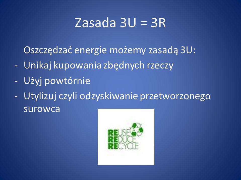 Zasada 3U = 3R Oszczędzać energie możemy zasadą 3U: -Unikaj kupowania zbędnych rzeczy -Użyj powtórnie -Utylizuj czyli odzyskiwanie przetworzonego suro