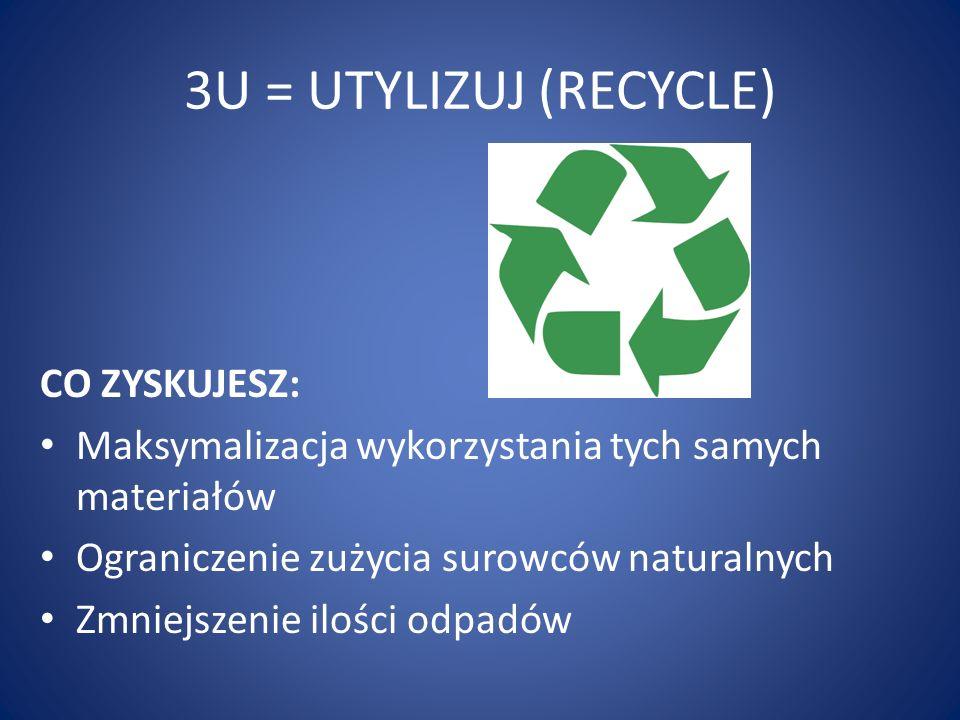 3U = UTYLIZUJ (RECYCLE) CO ZYSKUJESZ: Maksymalizacja wykorzystania tych samych materiałów Ograniczenie zużycia surowców naturalnych Zmniejszenie ilośc