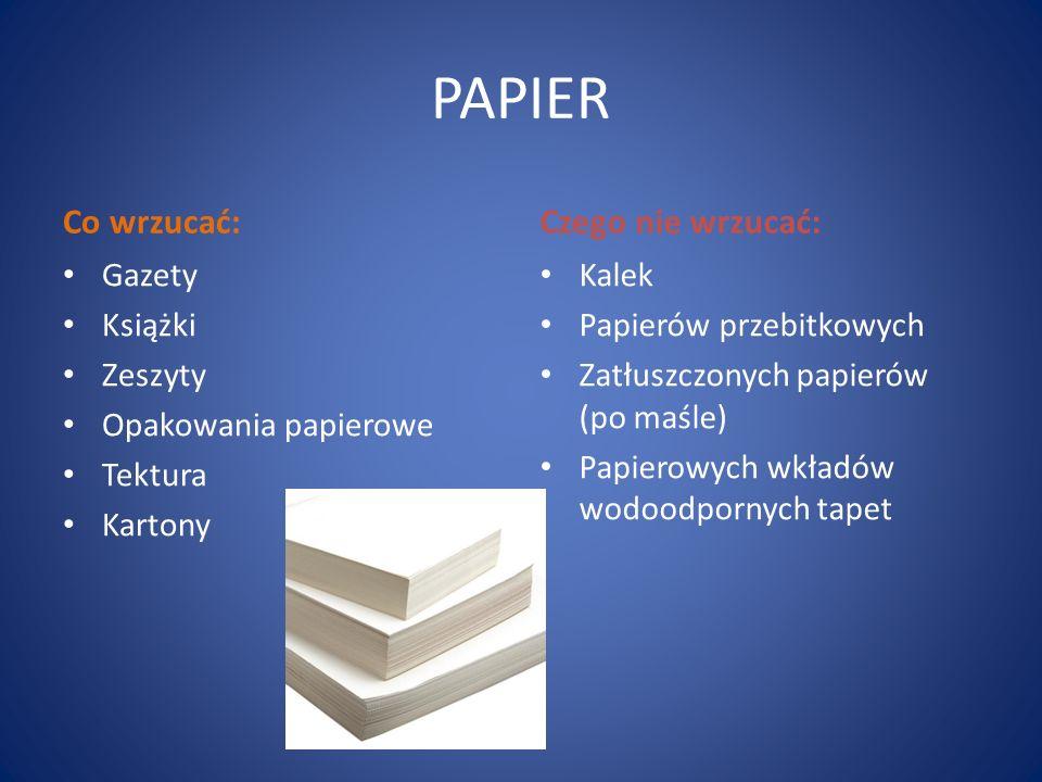 PAPIER Co wrzucać: Gazety Książki Zeszyty Opakowania papierowe Tektura Kartony Czego nie wrzucać: Kalek Papierów przebitkowych Zatłuszczonych papierów