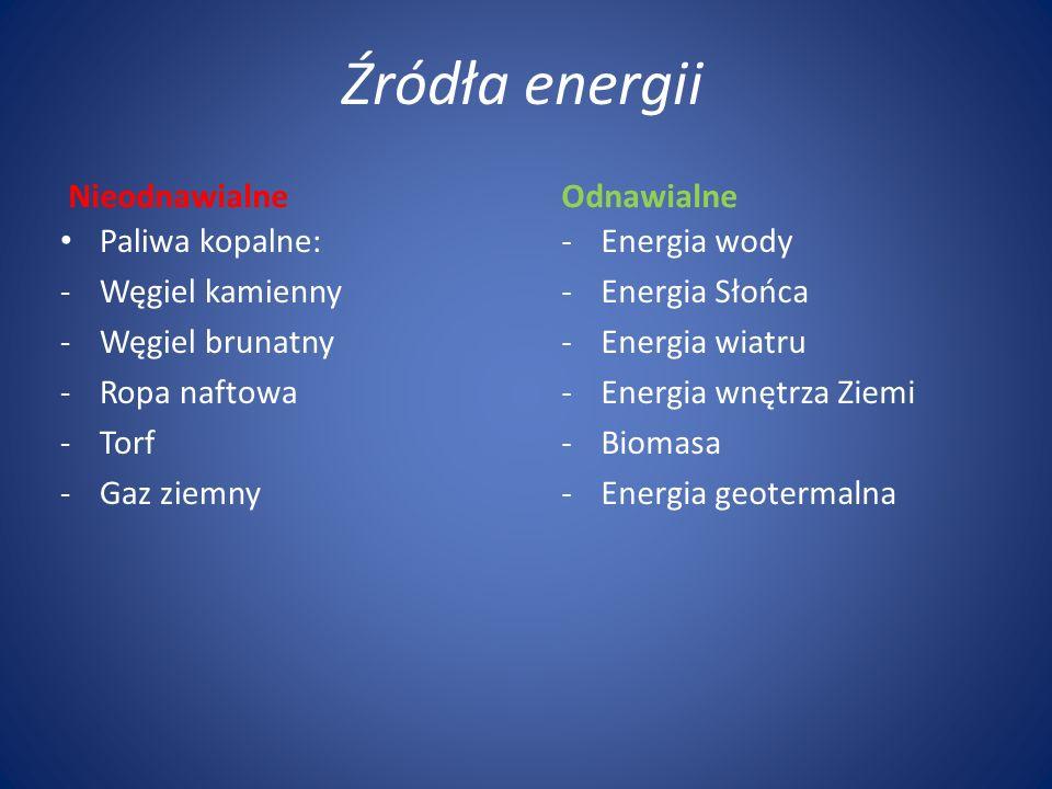 Źródła energii Nieodnawialne Paliwa kopalne: -Węgiel kamienny -Węgiel brunatny -Ropa naftowa -Torf -Gaz ziemny Odnawialne -Energia wody -Energia Słońc