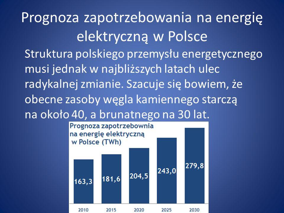 Prognoza zapotrzebowania na energię elektryczną w Polsce Struktura polskiego przemysłu energetycznego musi jednak w najbliższych latach ulec radykalne