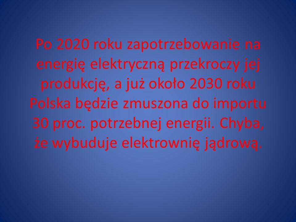 Po 2020 roku zapotrzebowanie na energię elektryczną przekroczy jej produkcję, a już około 2030 roku Polska będzie zmuszona do importu 30 proc. potrzeb