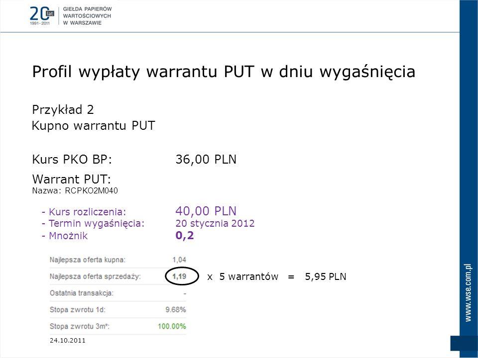 24.10.2011 Przykład 2 Kurs PKO BP:36,00 PLN Warrant PUT: Nazwa: RCPKO2M040 - Kurs rozliczenia: 40,00 PLN - Termin wygaśnięcia:20 stycznia 2012 - Mnożn