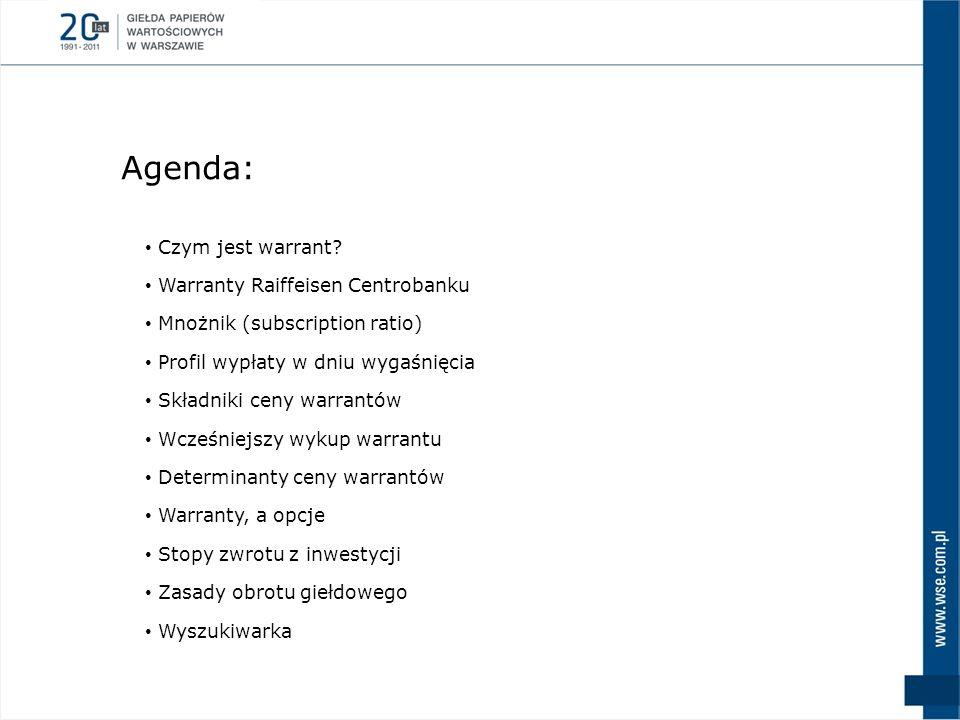Agenda: Czym jest warrant? Warranty Raiffeisen Centrobanku Mnożnik (subscription ratio) Profil wypłaty w dniu wygaśnięcia Składniki ceny warrantów Wcz