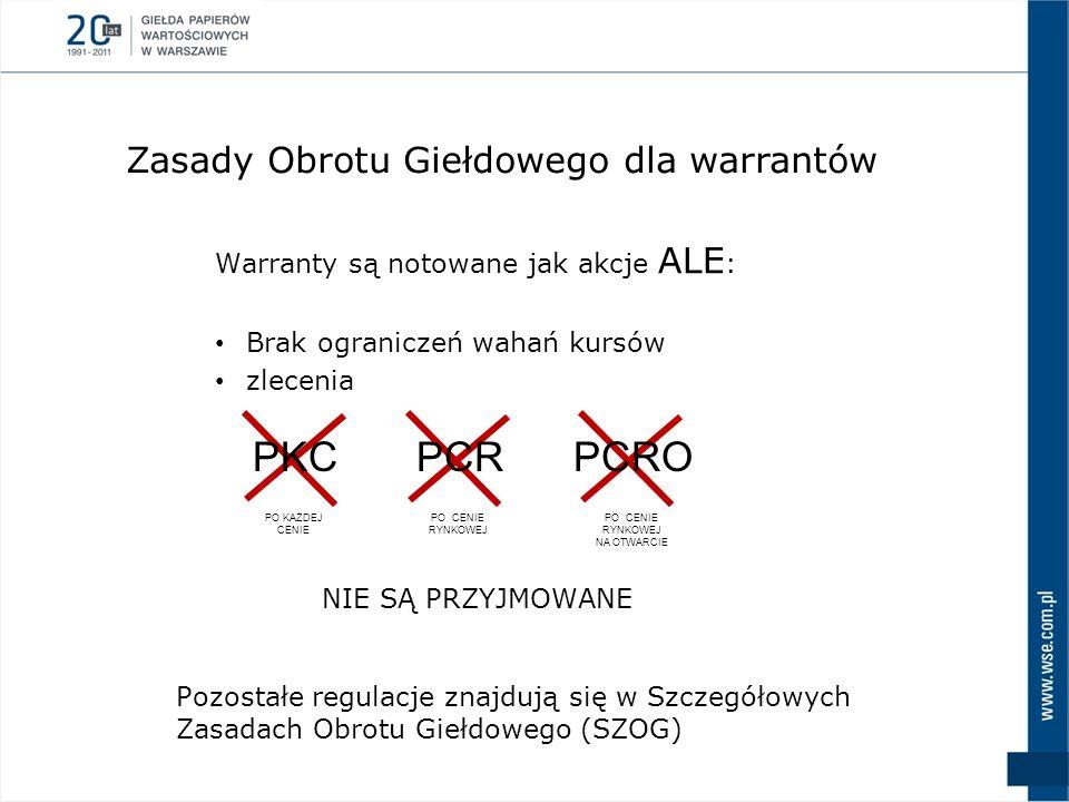 Warranty są notowane jak akcje ALE : Brak ograniczeń wahań kursów zlecenia NIE SĄ PRZYJMOWANE Zasady Obrotu Giełdowego dla warrantów PKCPCRPCRO PO KAŻ