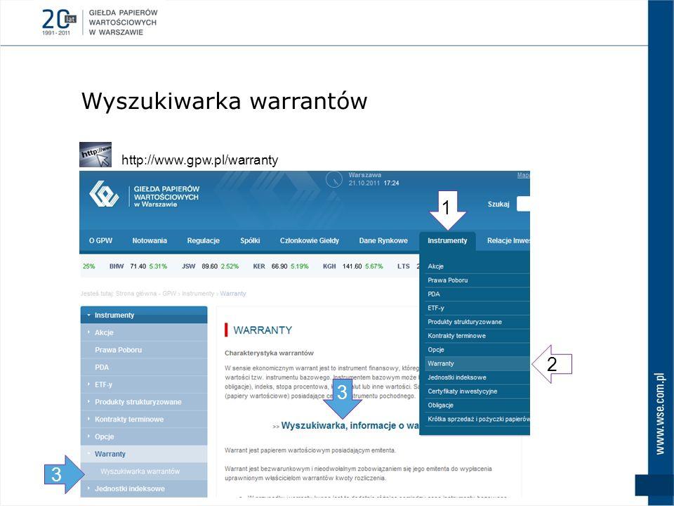 Wyszukiwarka warrantów 1 3 2 http://www.gpw.pl/warranty 3