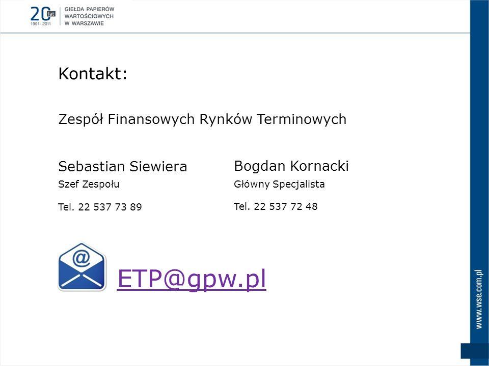 Kontakt: Sebastian Siewiera Szef Zespołu Tel. 22 537 73 89 ETP@gpw.pl Bogdan Kornacki Główny Specjalista Tel. 22 537 72 48 Zespół Finansowych Rynków T