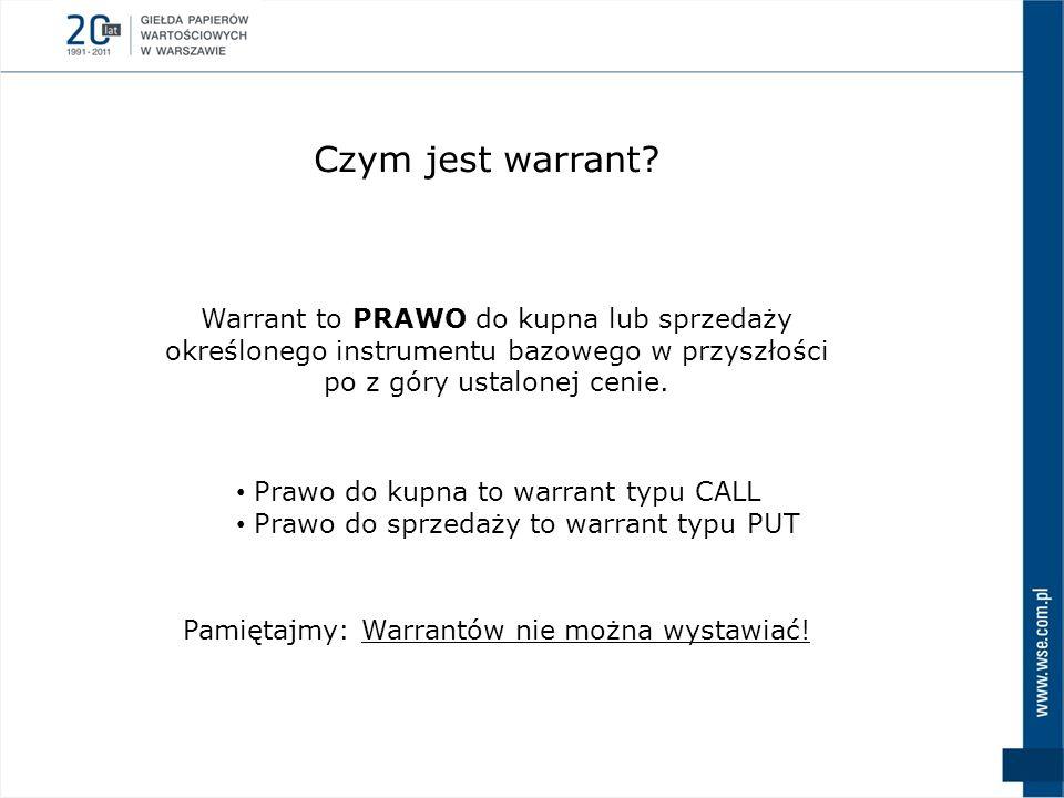Warrant to PRAWO do kupna lub sprzedaży określonego instrumentu bazowego w przyszłości po z góry ustalonej cenie. Prawo do kupna to warrant typu CALL
