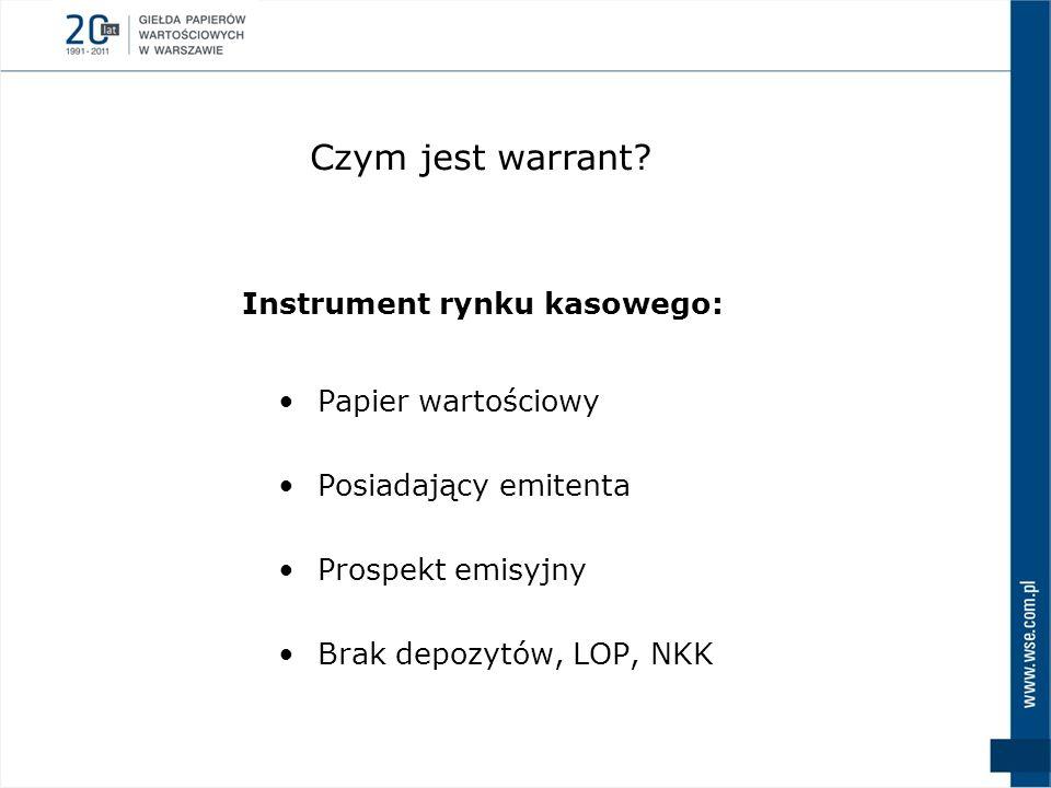 Papier wartościowy Posiadający emitenta Prospekt emisyjny Brak depozytów, LOP, NKK Instrument rynku kasowego: Czym jest warrant?