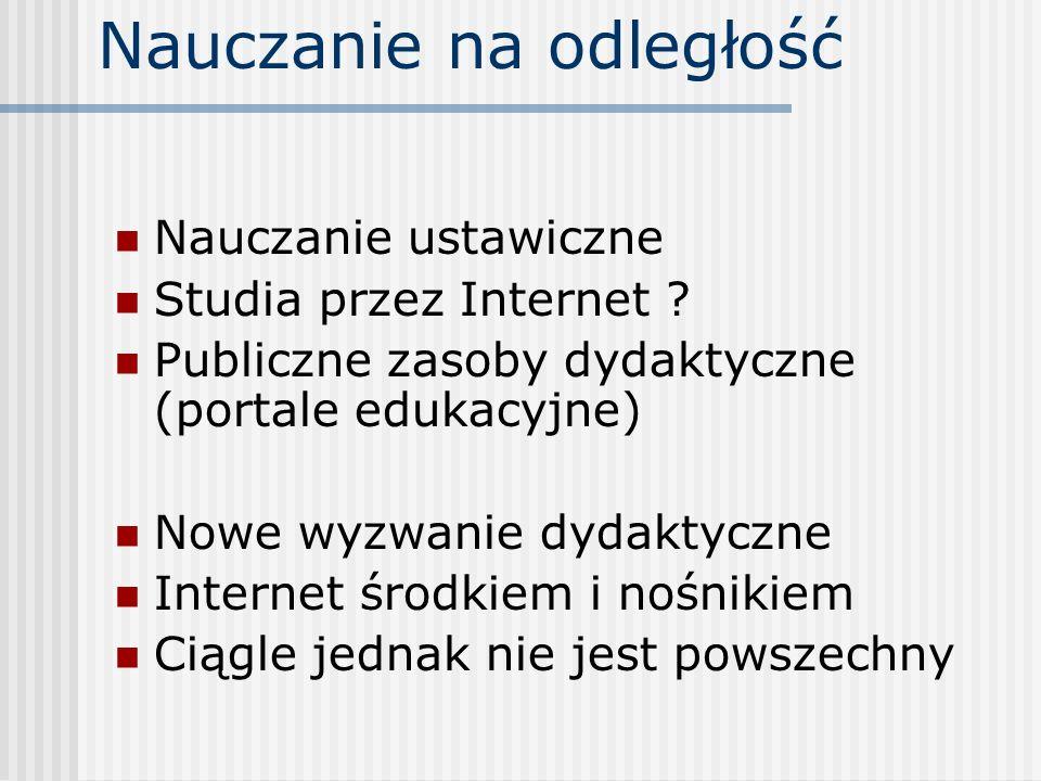 Nauczanie na odległość Nauczanie ustawiczne Studia przez Internet ? Publiczne zasoby dydaktyczne (portale edukacyjne) Nowe wyzwanie dydaktyczne Intern