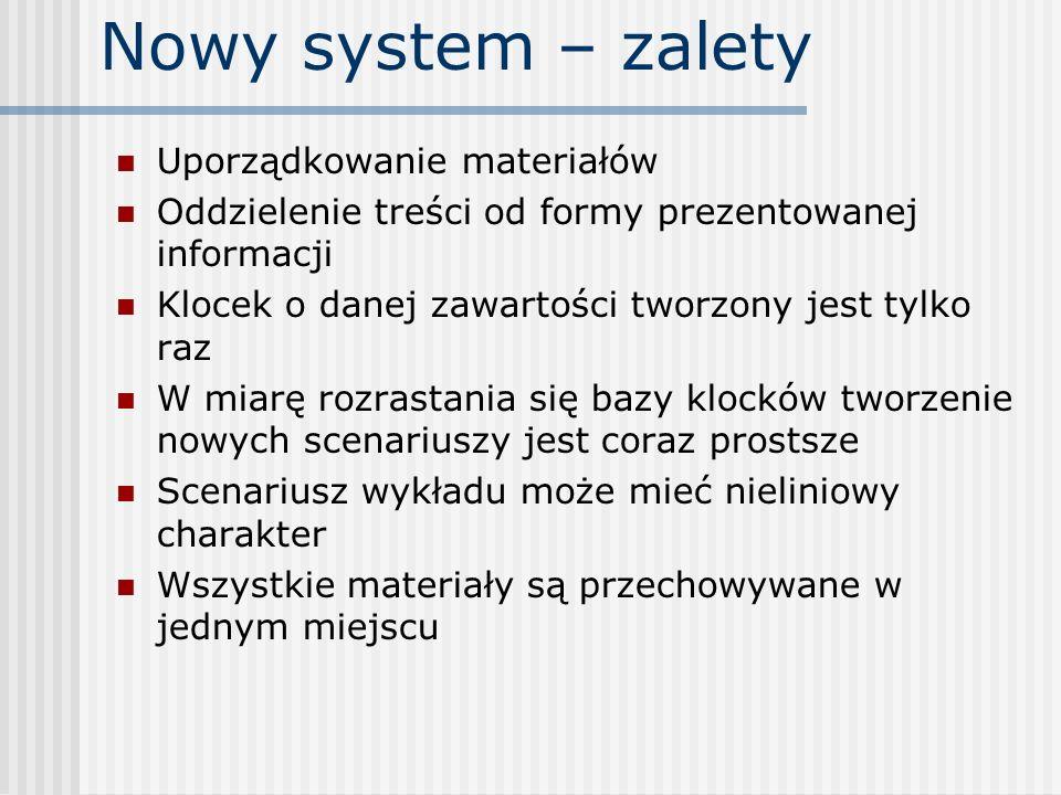 Nowy system – zalety Uporządkowanie materiałów Oddzielenie treści od formy prezentowanej informacji Klocek o danej zawartości tworzony jest tylko raz