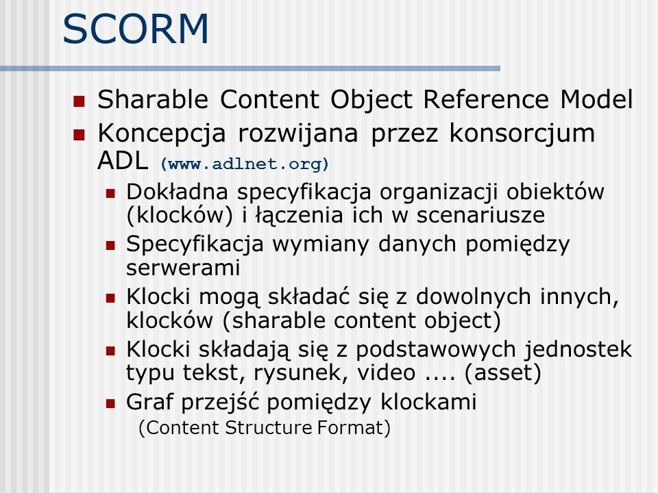SCORM Sharable Content Object Reference Model Koncepcja rozwijana przez konsorcjum ADL (www.adlnet.org) Dokładna specyfikacja organizacji obiektów (kl