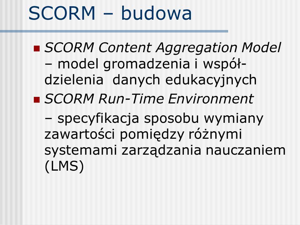 SCORM – budowa SCORM Content Aggregation Model – model gromadzenia i współ- dzielenia danych edukacyjnych SCORM Run-Time Environment – specyfikacja sp