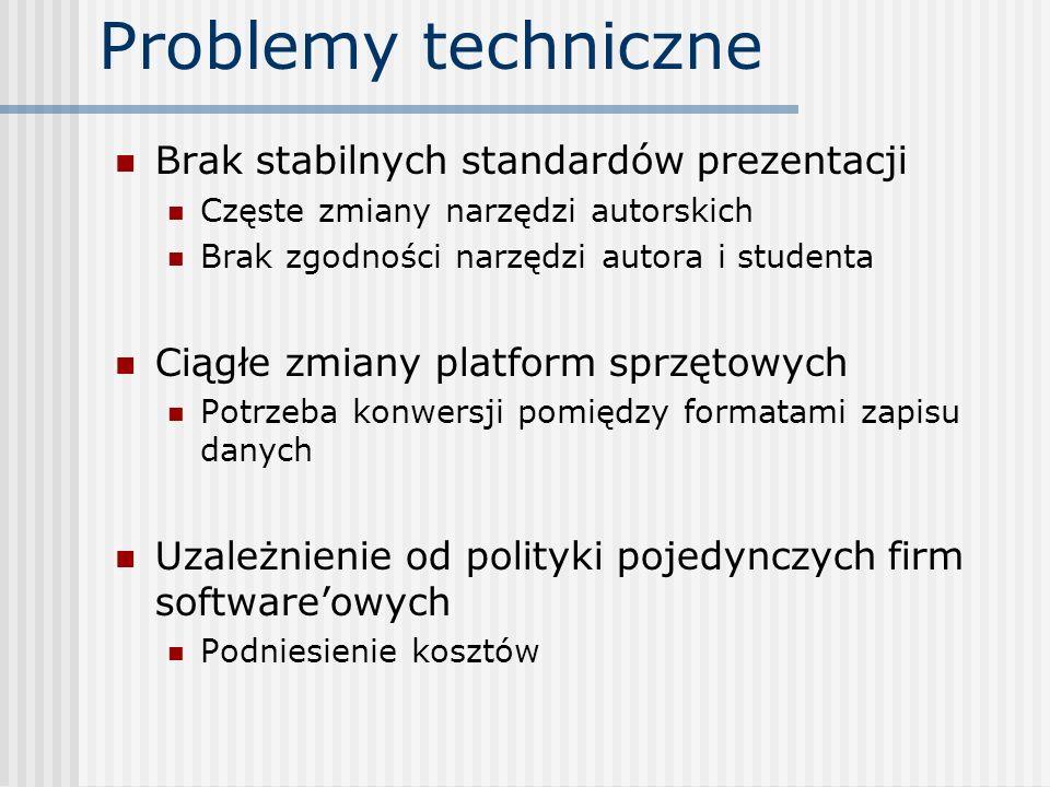 Problemy techniczne Brak stabilnych standardów prezentacji Częste zmiany narzędzi autorskich Brak zgodności narzędzi autora i studenta Ciągłe zmiany p