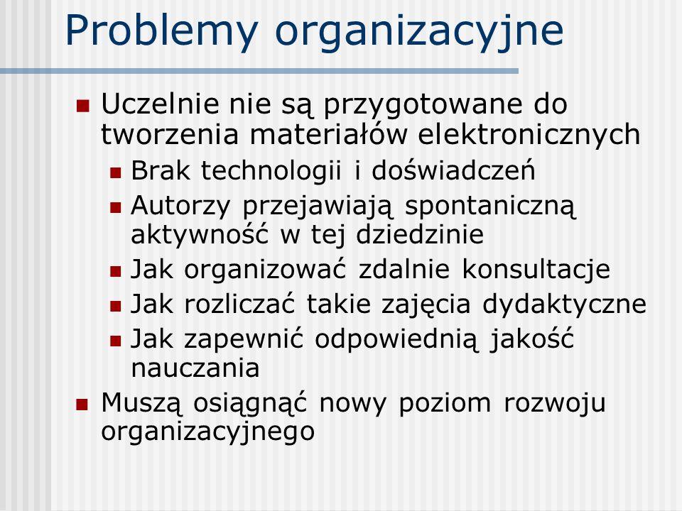 Problemy organizacyjne Uczelnie nie są przygotowane do tworzenia materiałów elektronicznych Brak technologii i doświadczeń Autorzy przejawiają spontan