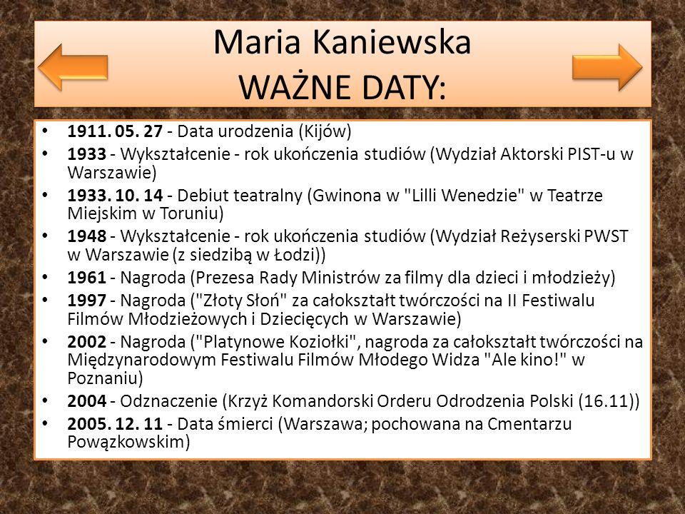 Maria Kaniewska WAŻNE DATY: 1911. 05. 27 - Data urodzenia (Kijów) 1933 - Wykształcenie - rok ukończenia studiów (Wydział Aktorski PIST-u w Warszawie)