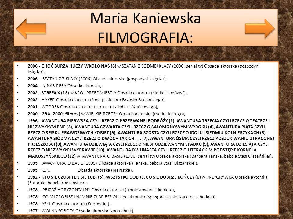 Maria Kaniewska FILMOGRAFIA: 2006 - CHOĆ BURZA HUCZY WKOŁO NAS (6) w SZATAN Z SÓDMEJ KLASY (2006; serial tv) Obsada aktorska (gospodyni księdza), 2006