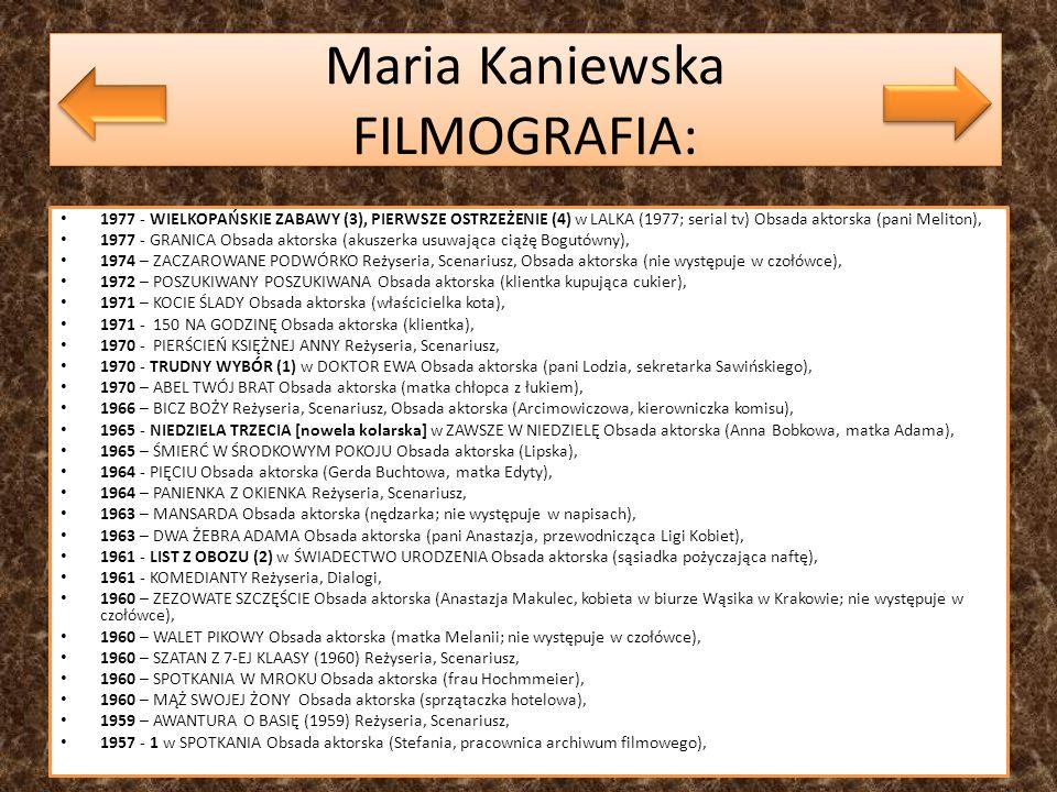 Maria Kaniewska FILMOGRAFIA: 1977 - WIELKOPAŃSKIE ZABAWY (3), PIERWSZE OSTRZEŻENIE (4) w LALKA (1977; serial tv) Obsada aktorska (pani Meliton), 1977