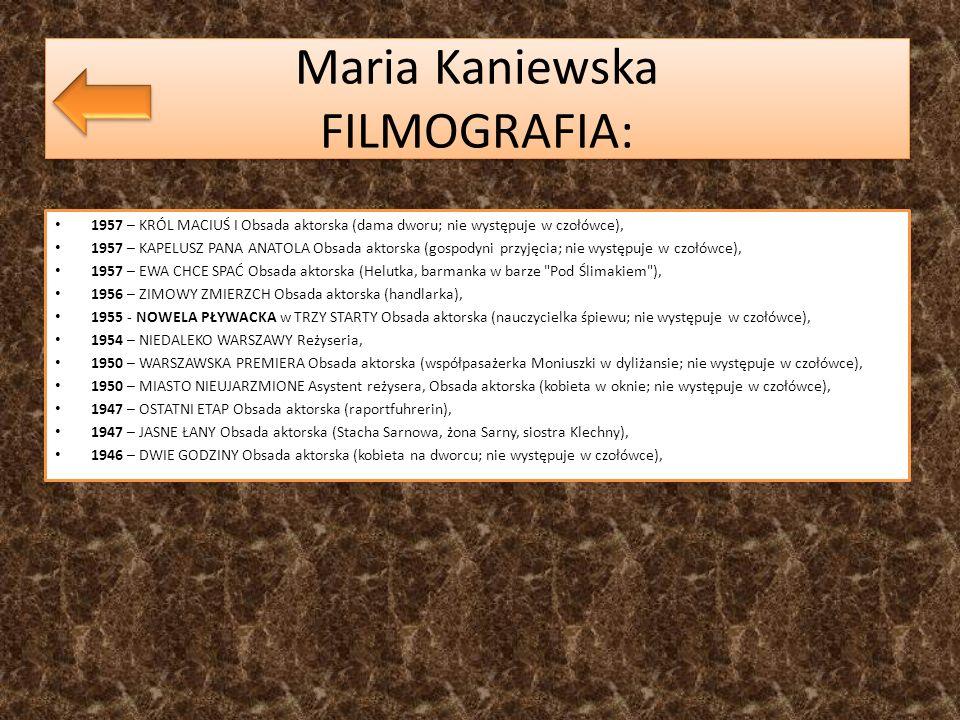 Maria Kaniewska FILMOGRAFIA: 1957 – KRÓL MACIUŚ I Obsada aktorska (dama dworu; nie występuje w czołówce), 1957 – KAPELUSZ PANA ANATOLA Obsada aktorska