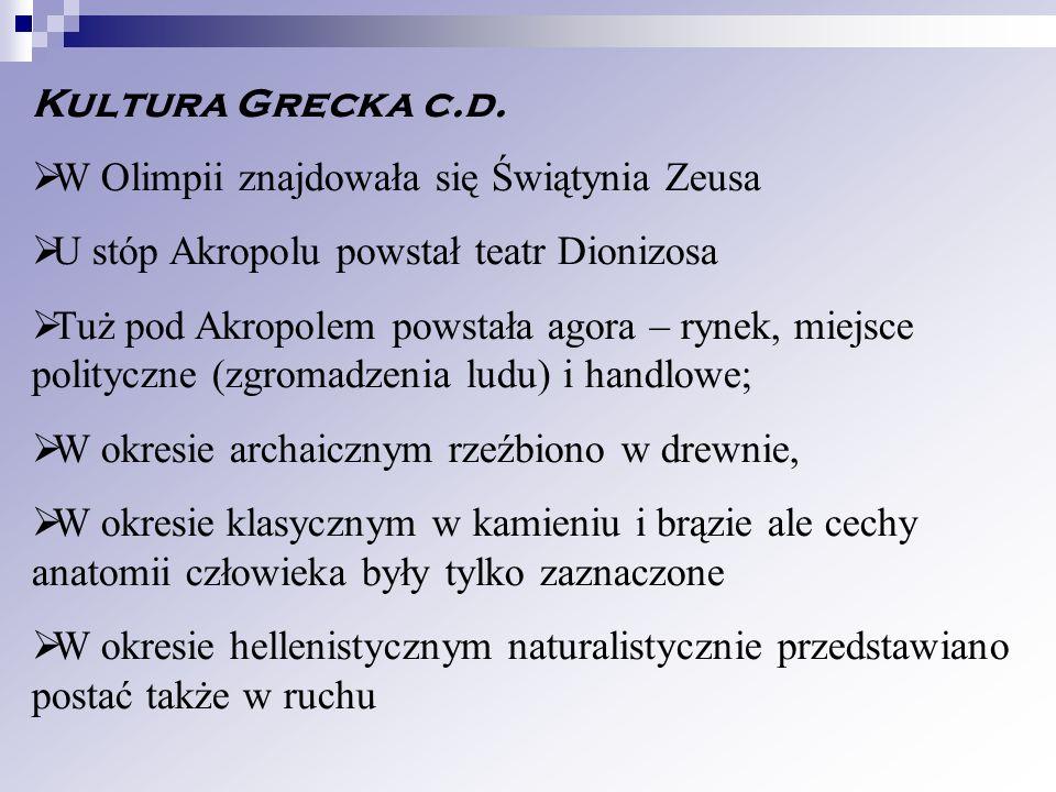 Kultura Grecka c.d. W Olimpii znajdowała się Świątynia Zeusa U stóp Akropolu powstał teatr Dionizosa Tuż pod Akropolem powstała agora – rynek, miejsce