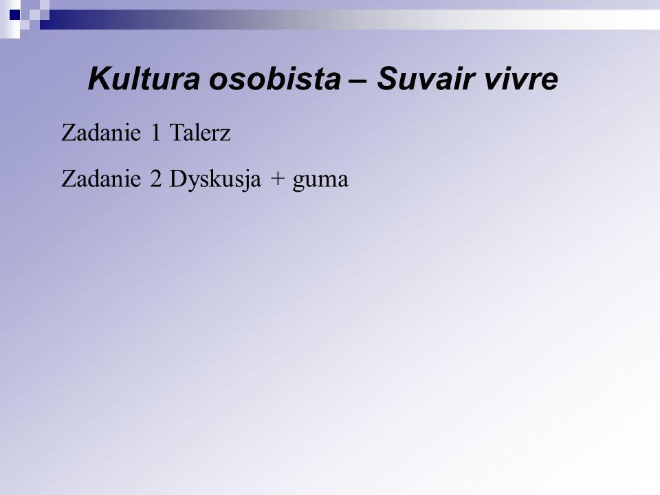 Kultura osobista – Suvair vivre Zadanie 1 Talerz Zadanie 2 Dyskusja + guma