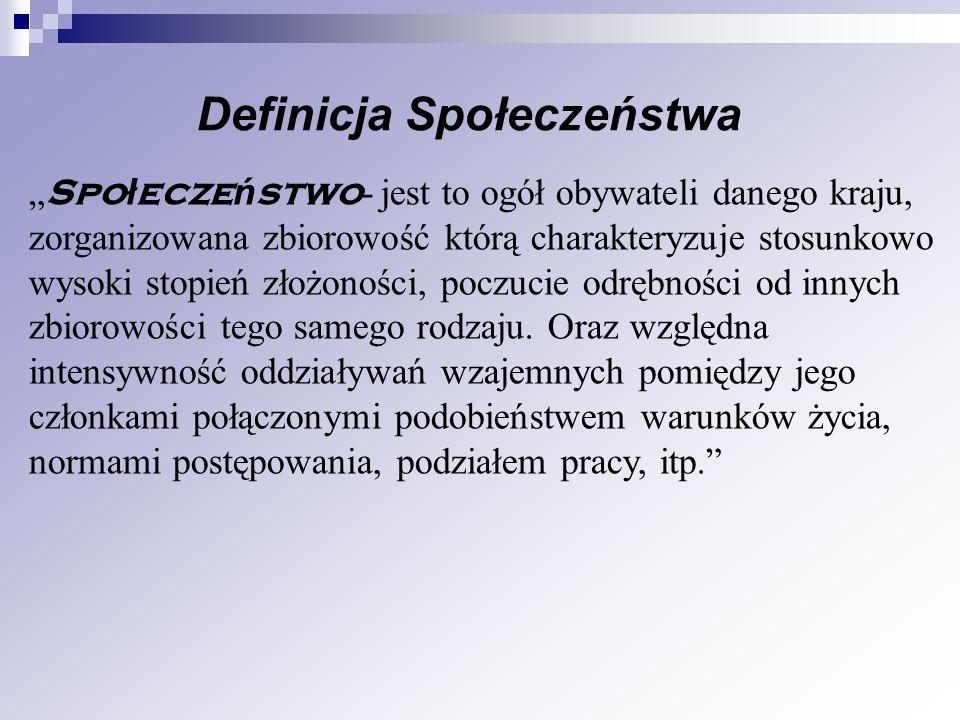 Definicja Społeczeństwa Spo ł ecze ń stwo - jest to ogół obywateli danego kraju, zorganizowana zbiorowość którą charakteryzuje stosunkowo wysoki stopi