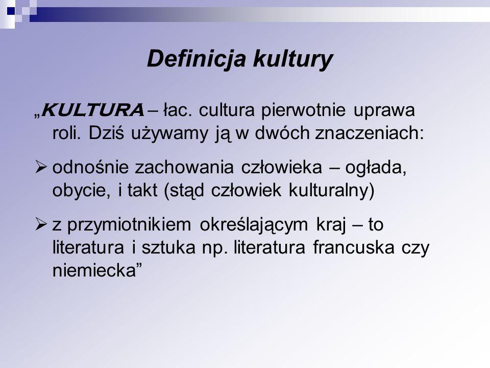 KULTURA – łac. cultura pierwotnie uprawa roli. Dziś używamy ją w dwóch znaczeniach: odnośnie zachowania człowieka – ogłada, obycie, i takt (stąd człow