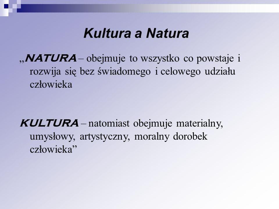 Kultura a Natura NATURA – obejmuje to wszystko co powstaje i rozwija się bez świadomego i celowego udziału człowieka KULTURA – natomiast obejmuje mate