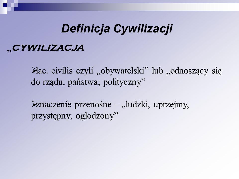 CYWILIZACJA łac. civilis czyli obywatelski lub odnoszący się do rządu, państwa; polityczny znaczenie przenośne – ludzki, uprzejmy, przystępny, ogłodzo