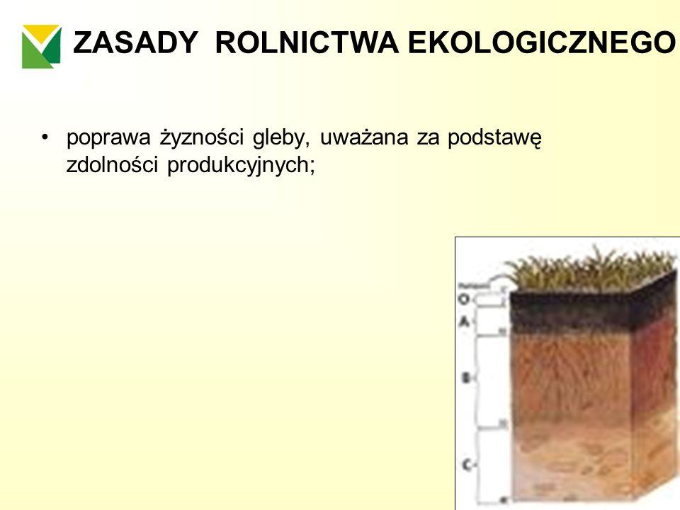ZASADY ROLNICTWA EKOLOGICZNEGO poprawa żyzności gleby, uważana za podstawę zdolności produkcyjnych;