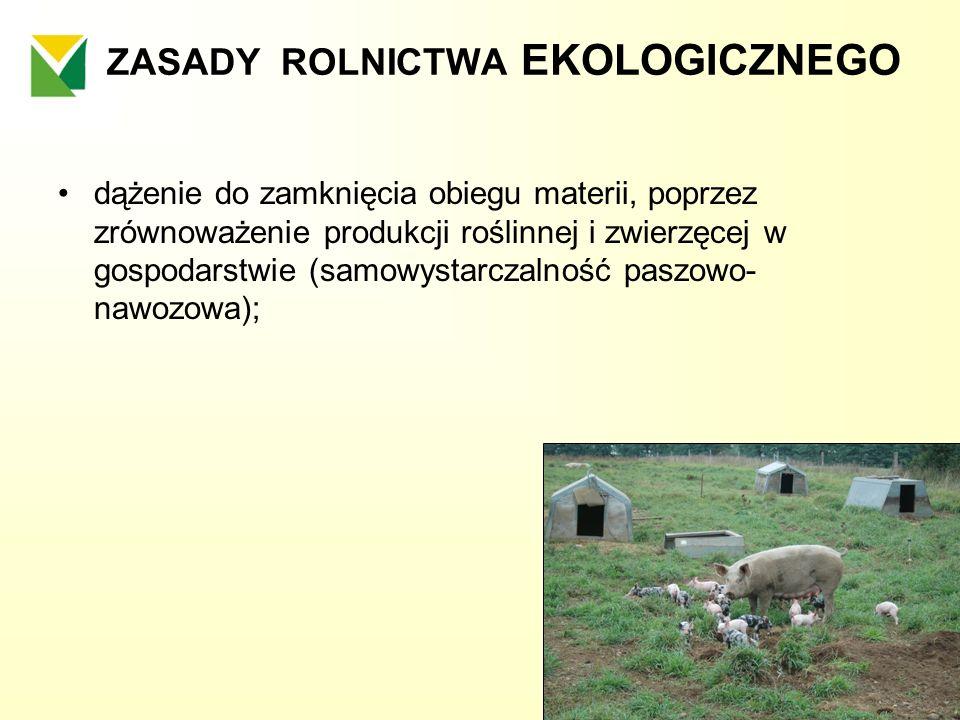 ZASADY ROLNICTWA EKOLOGICZNEGO dążenie do zamknięcia obiegu materii, poprzez zrównoważenie produkcji roślinnej i zwierzęcej w gospodarstwie (samowysta