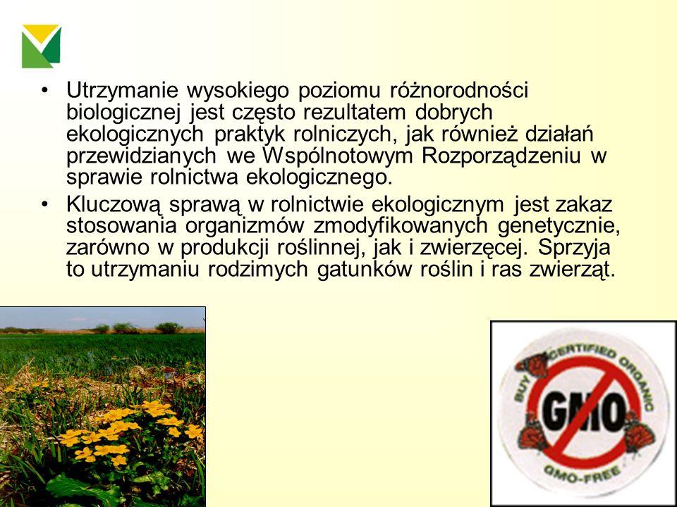 Utrzymanie wysokiego poziomu różnorodności biologicznej jest często rezultatem dobrych ekologicznych praktyk rolniczych, jak również działań przewidzi