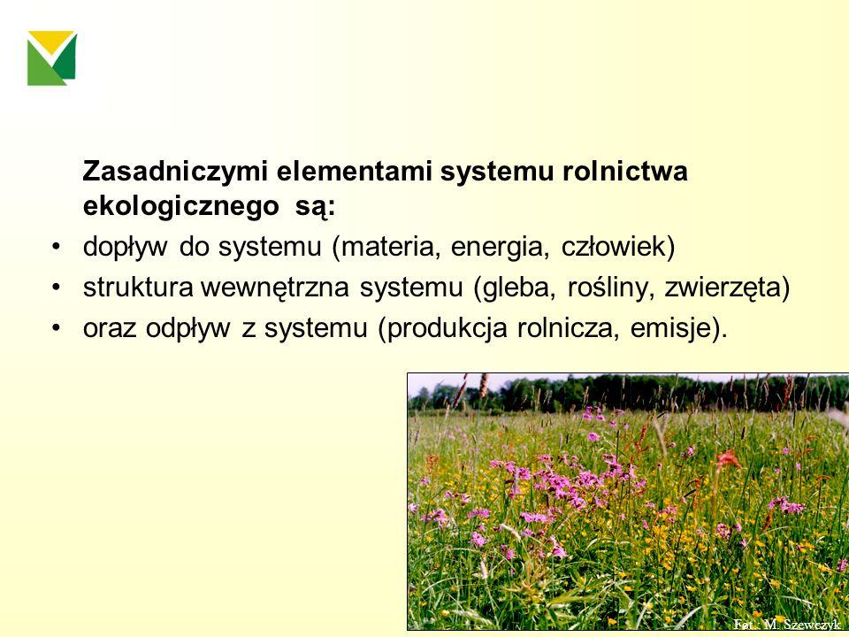 Zasadniczymi elementami systemu rolnictwa ekologicznego są: dopływ do systemu (materia, energia, człowiek) struktura wewnętrzna systemu (gleba, roślin