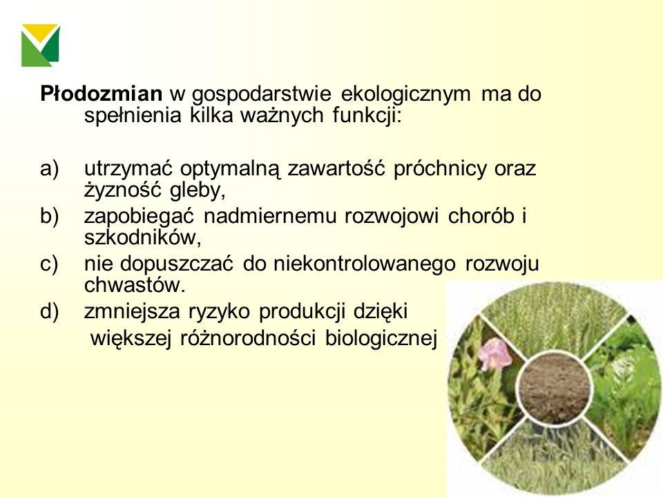 Płodozmian w gospodarstwie ekologicznym ma do spełnienia kilka ważnych funkcji: a)utrzymać optymalną zawartość próchnicy oraz żyzność gleby, b) zapobi