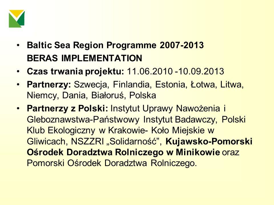 Baltic Sea Region Programme 2007-2013 BERAS IMPLEMENTATION Czas trwania projektu: 11.06.2010 -10.09.2013 Partnerzy: Szwecja, Finlandia, Estonia, Łotwa