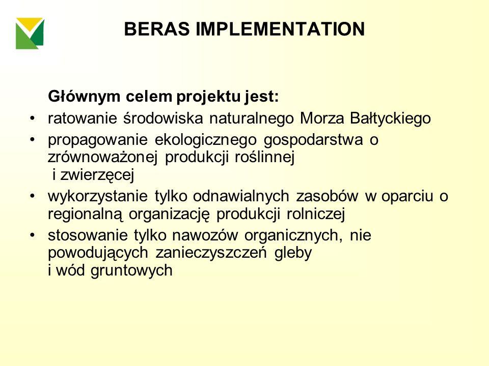 BERAS IMPLEMENTATION Głównym celem projektu jest: ratowanie środowiska naturalnego Morza Bałtyckiego propagowanie ekologicznego gospodarstwa o zrównow