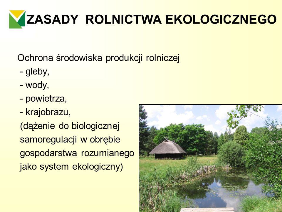 ZASADY ROLNICTWA EKOLOGICZNEGO Ochrona środowiska produkcji rolniczej - gleby, - wody, - powietrza, - krajobrazu, (dążenie do biologicznej samoregulac
