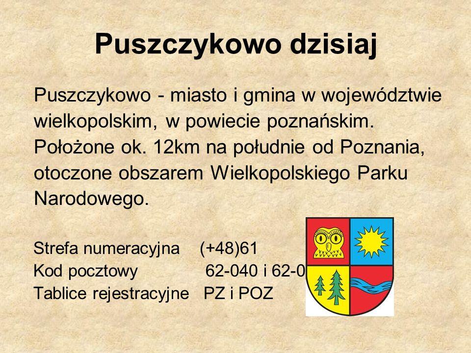 Puszczykowo dzisiaj Puszczykowo - miasto i gmina w województwie wielkopolskim, w powiecie poznańskim. Położone ok. 12km na południe od Poznania, otocz