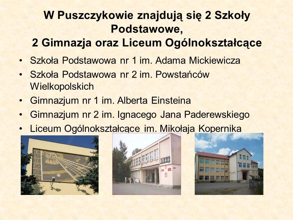 W Puszczykowie znajdują się 2 Szkoły Podstawowe, 2 Gimnazja oraz Liceum Ogólnokształcące Szkoła Podstawowa nr 1 im. Adama Mickiewicza Szkoła Podstawow