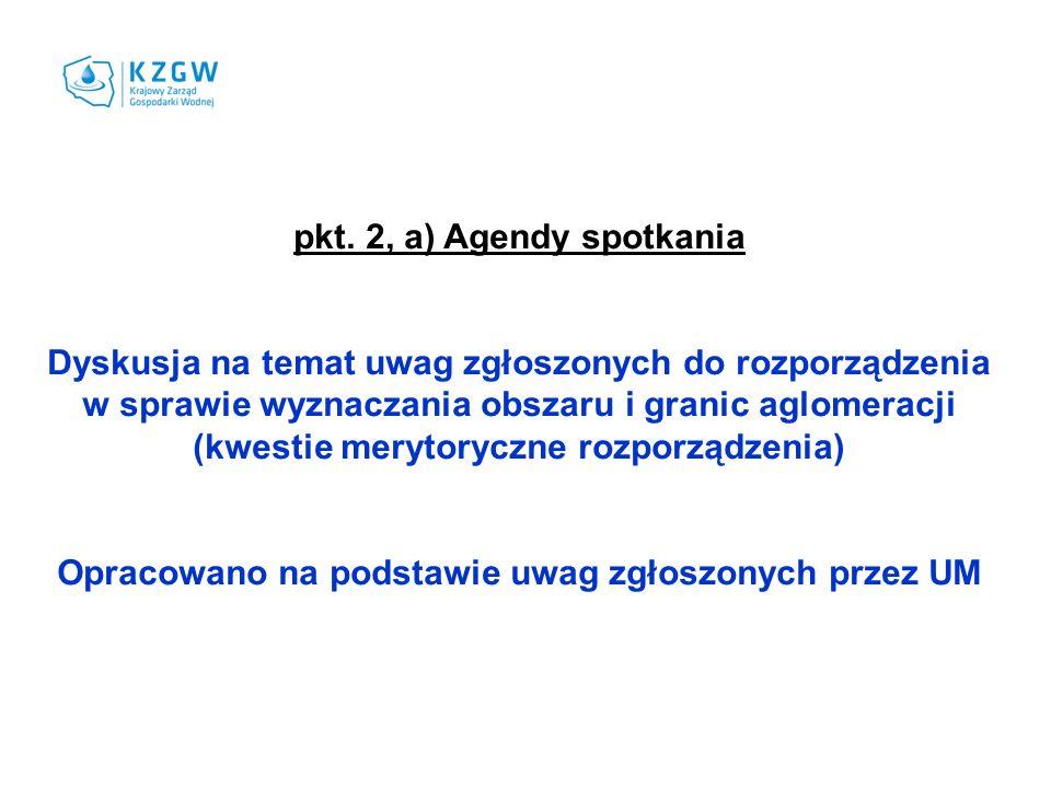 pkt. 2, a) Agendy spotkania Dyskusja na temat uwag zgłoszonych do rozporządzenia w sprawie wyznaczania obszaru i granic aglomeracji (kwestie merytoryc