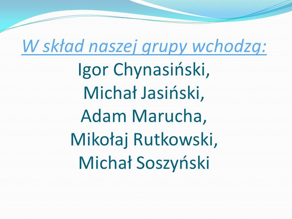 W skład naszej grupy wchodzą: Igor Chynasiński, Michał Jasiński, Adam Marucha, Mikołaj Rutkowski, Michał Soszyński