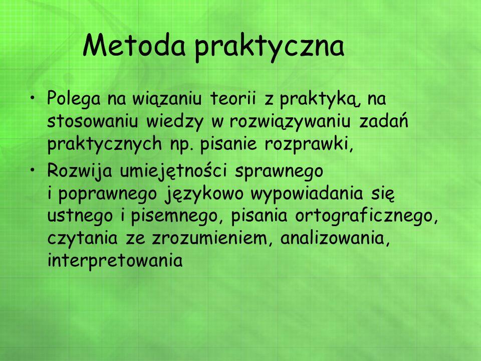 Metoda praktyczna Polega na wiązaniu teorii z praktyką, na stosowaniu wiedzy w rozwiązywaniu zadań praktycznych np. pisanie rozprawki, Rozwija umiejęt