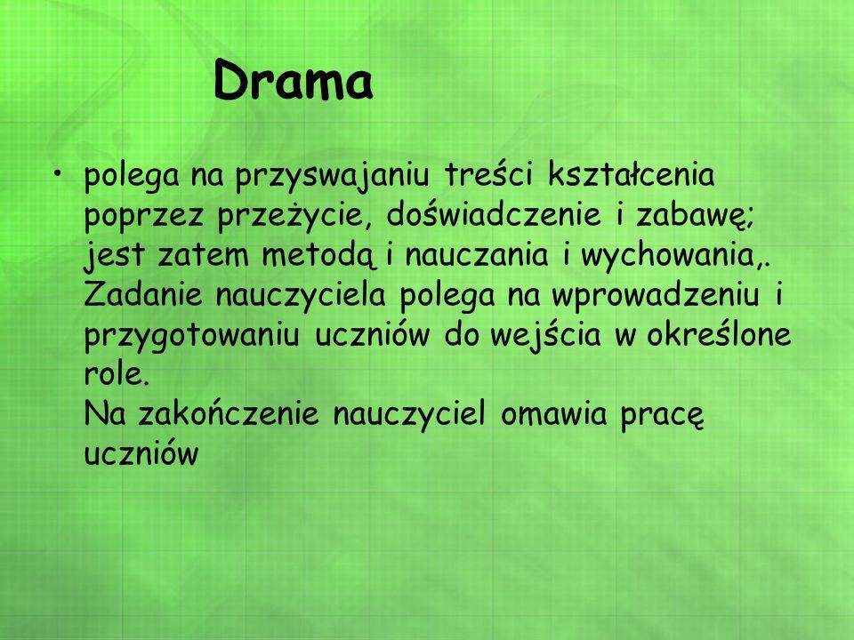 Drama polega na przyswajaniu treści kształcenia poprzez przeżycie, doświadczenie i zabawę; jest zatem metodą i nauczania i wychowania,. Zadanie nauczy
