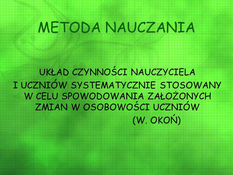 METODA NAUCZANIA UKŁAD CZYNNOŚCI NAUCZYCIELA I UCZNIÓW SYSTEMATYCZNIE STOSOWANY W CELU SPOWODOWANIA ZAŁOŻONYCH ZMIAN W OSOBOWOŚCI UCZNIÓW (W. OKOŃ)